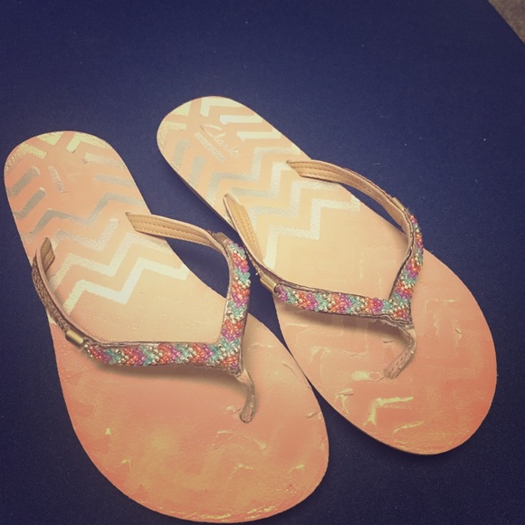 competitive price 639dd c2d90 Clarks Collection Beaded Flip Flops